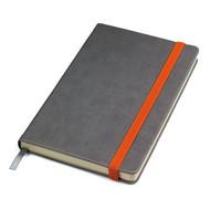 """Бизнес-блокнот """"Fancy"""", 135х210 мм, серый/оранжевый, твердая обложка,  резинка 10 мм, блок-линейка"""