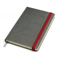 """Бизнес-блокнот """"Fancy"""", 135х210 мм, серый/красный, твердая обложка,  резинка 10 мм, блок-линейка"""