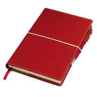 """Бизнес-блокнот """"BUSINESS"""", 130*210 мм, красный,  обложка портфолио,  блок-линейка, тиснение"""