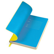 """Бизнес-блокнот """"Funky"""" A5,  желтый с голубым  форзацем, мягкая обложка, в линейку"""