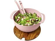 Салатница Lucha из пшеничного соломенного волокна с приборами, розовый